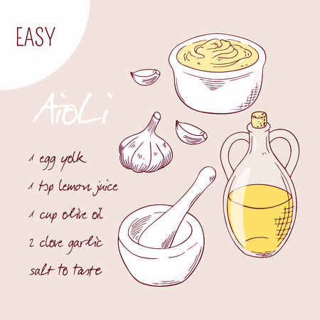 mayonnaise: Aioli sauce recipe illustration in vector. Sketched food ingredients garlic, olive oil and porcelain mortar with pestle