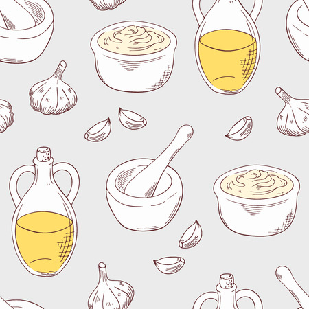 Aioli sauce seamless pattern with ingredients garlic, olive oil, porcelain mortar and pestle. Cuisine vector illustration. Sketched food background Çizim