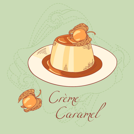 vanilla pudding: Creme caramel on plate isolated in vector. Sketched dessert. Dooldle illustration