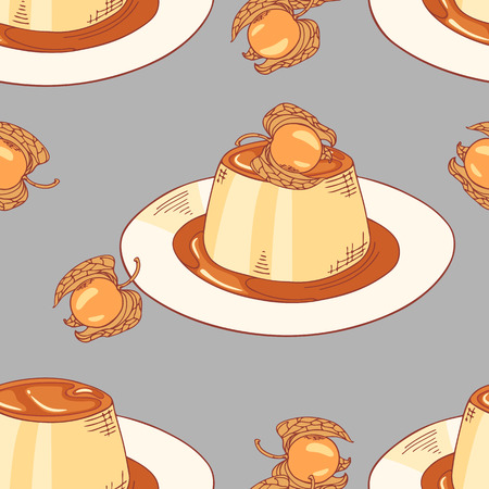 flan: Creme caramel on plate seamless pattern in vector. Sketched dessert background. Dooldle illustration