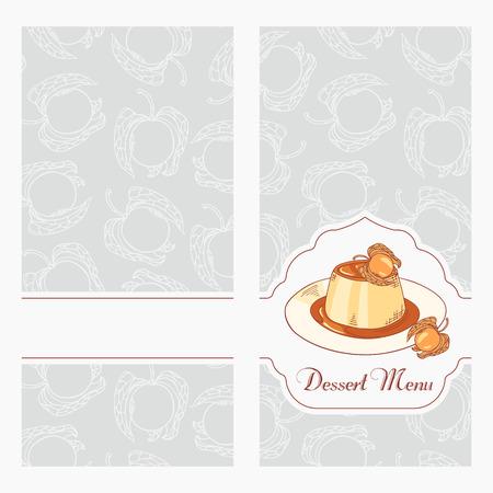 creme: Dessert menu template design for cafe. Creme caramel on plate in vector. Sketched food background. Hand drawn illustration