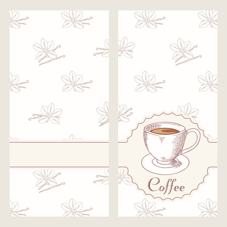 coffee house: Coffee house menu template design in vector. Hand drawn cafe bakground. Coffee cup illustration with vanilla seamless pattern Illustration
