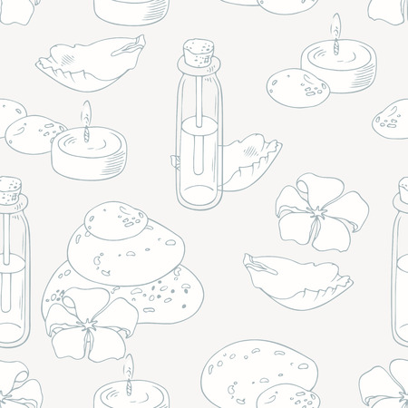 hot stone massage: Aromatherapy outline seamless pattern in vector. Spa background