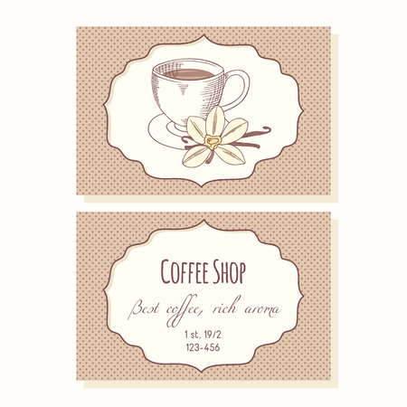 Sketched coffee cup with vanilla flower and stick  business cards template for cafe in vector. Hand drawn illustration Vector