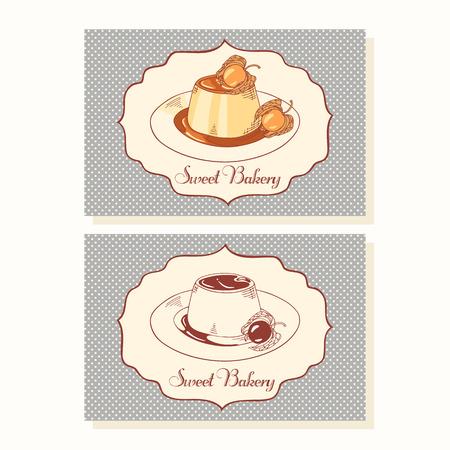 vanilla pudding: Crema de caramelo en la placa plantilla de tarjetas de visita en el vector. Ilustraci�n Dooldle con postre Vectores