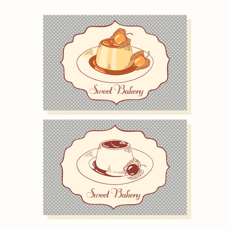 vanilla pudding: Creme caramel on plate  business cards template in vector. Dooldle illustration with dessert