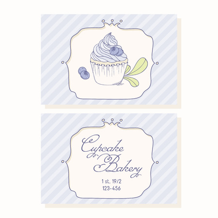 pastry shop: Hand drawn blueberry cupcake  business cards template for pastry shop. Doodle illustration of dessert in vector
