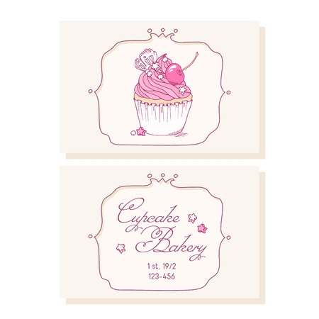 pastry shop: Hand drawn cherry cupcake  business cards template for pastry shop. Doodle illustration of dessert in vector Illustration