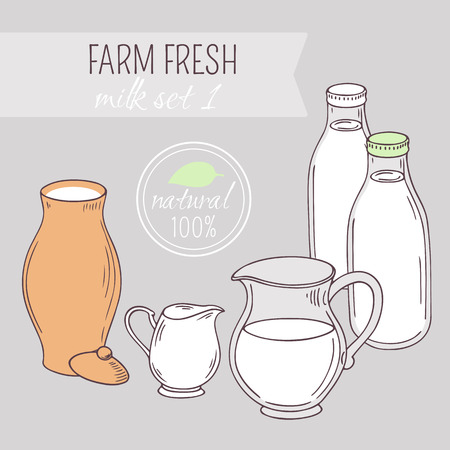 creamer: Set of hand drawn dairy farm objects. Background with milk goods. Vector illustration Illustration