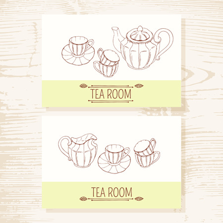 Business card set with hand drawn tea service in vector. Doodle illustration. Teatime design template with place for text. Wood background Vector