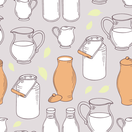 Seamless pattern with milk objects. Background for daify farm. Vector illustration Illustration
