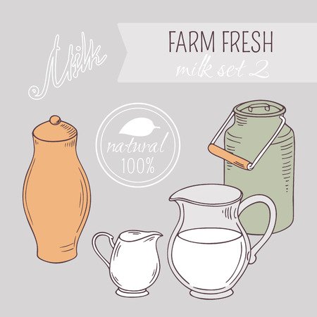 Collection of hand drawn dairy farm objects. Background with goods of milk. Vector illustration