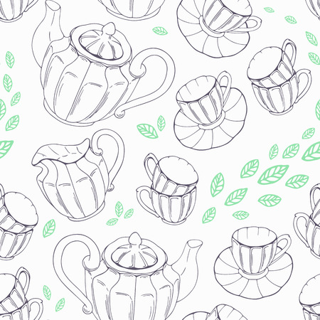 teatime: Outline seamless pattern with hand drawn tea porcelain service and leaves. Vector illustration. Teatime backdround Illustration