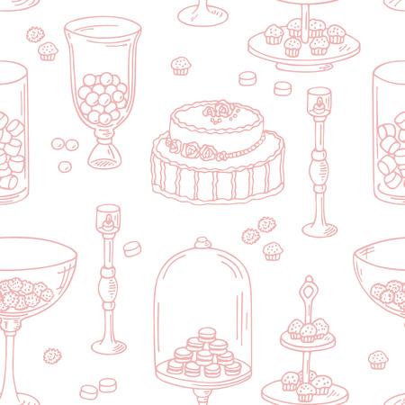 candy bar: Seamless pattern con stile contorno oggetti candy bar. Dolce sfondo negozio. Illustrazione vettoriale in stile shabby chic Vettoriali