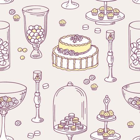 candy bar: Seamless pattern con oggetti bar Doodle caramelle. Dolce sfondo negozio. Illustrazione vettoriale in stile shabby chic