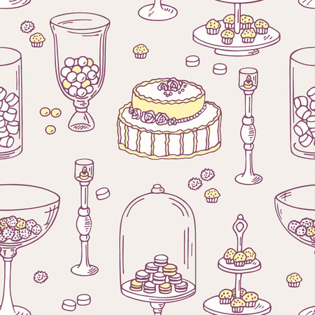 candy bar: Seamless pattern with doodle candy bar objects. Sweet shop background. Vector illustration in shabby chic style