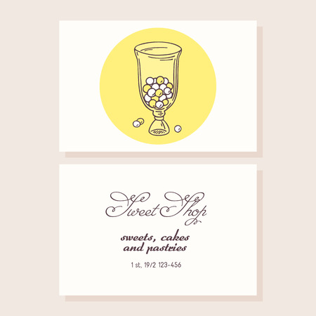 candy bar: Hand drawn candy bar business card template. Doodle sweet shop background. Vector illustration Illustration