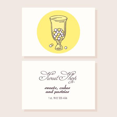 sweet shop: Mano barra de chocolate elaborado plantilla de tarjeta de visita. Doodle confiter�a fondo. Ilustraci�n vectorial
