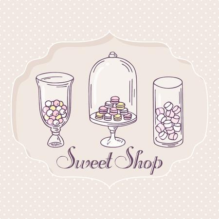 candy bar: Disegno a mano oggetti candy bar. Pasticceria Etichetta negozio di dolci. Illustrazione vettoriale