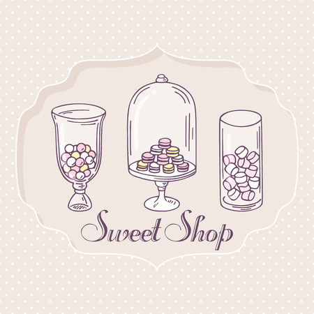 pastry shop: Hand drawn candy bar objects. Pastry shop label with sweets. Vector illustration