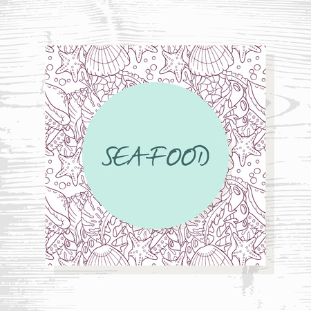 seashell: Seafood menu with hand drawn underwater pattern. Doodle style illustration. Mediterranean cuisine background Illustration