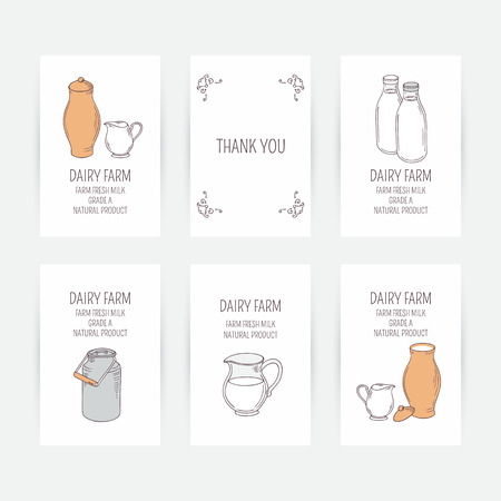 Business card set with milk icons in vector. Hand drawn illustration. Doodle design template for dairy farm Vector