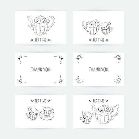 creamer: Business card set with tea service icons in vector. Hand drawn illustration. Doodle design template with place for text