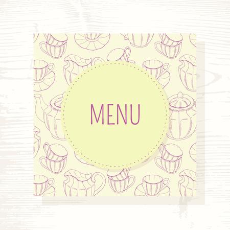tea service: Tea room menu template with tea service in vector. Hand drawn illustration. Doodle design for cafe. Wood background