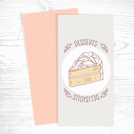 vanilla cake: Dessert menu template with hand drawn vanilla cake in vector. Doodle style illustration. Wood background