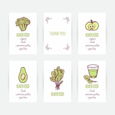 negocios comida: Conjunto de plantillas de tarjetas de visita con la comida vegetariana. Dibujado a mano vegetales verdes en el vector. Ilustraci�n dieta. Fondo con la comida sana y el lugar de texto