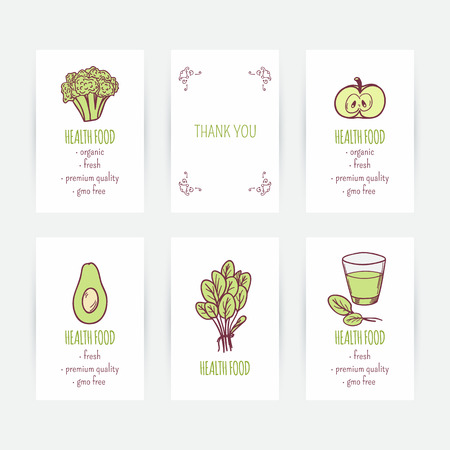 business cards: Set of business card templates with vegetarian food. Hand drawn green vegetables in vector. Diet illustration. Background with healthy food and place for text