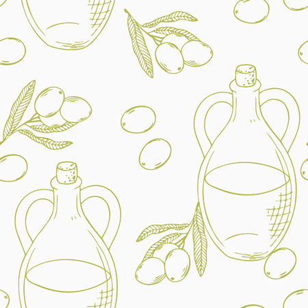 Outline seamless pattern with hand drawn olive oil in vector. Health food background Vector