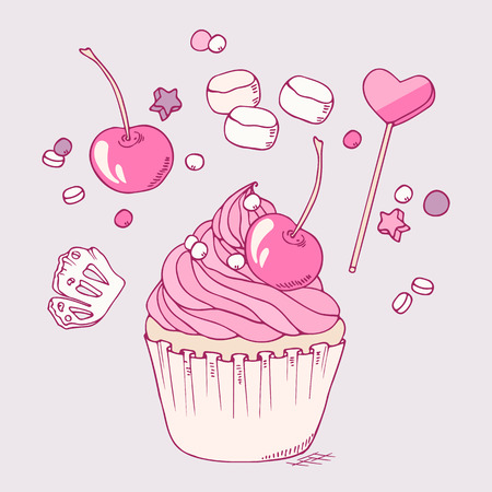 toppings: Hand drawn cupcake clip art. Doodle illustration of dessert in vector with different toppings