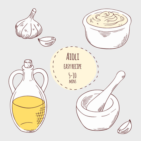 mayonnaise: Aioli sauce illustration in vector. Hand drawn food ingredients garlic, olive oil and porcelain mortar with pestle
