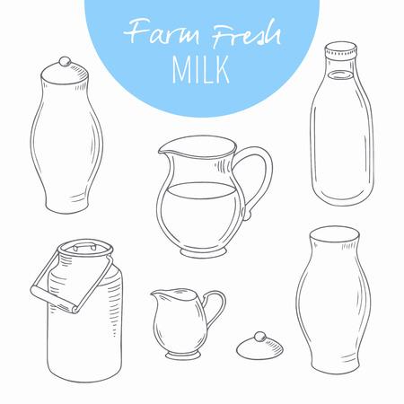 �illustration: Conjunto de objetos de la granja lechera incompletos. Productos l�cteos de clip art. Ilustraci�n del vector en estilo de esquema Vectores