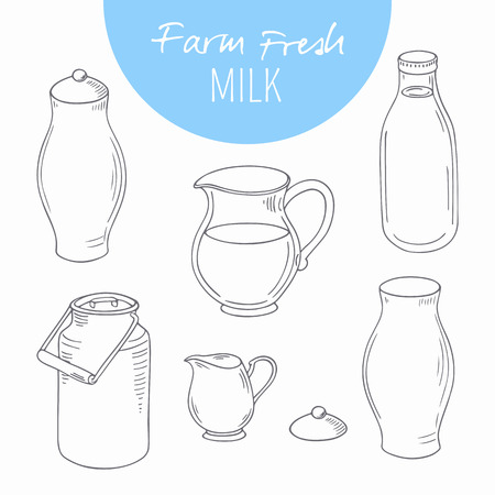 milk jugs: Set of sketchy dairy farm objects. Milk goods clip art. Vector illustration in outline style