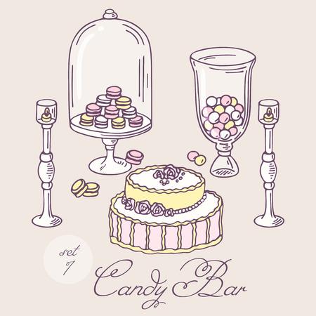 sweet shop: Conjunto de objetos de la barra de caramelo dibujados a mano. Art�culos de panader�a de clip art. Ilustraci�n vectorial en estilo elegante lamentable de confiter�a