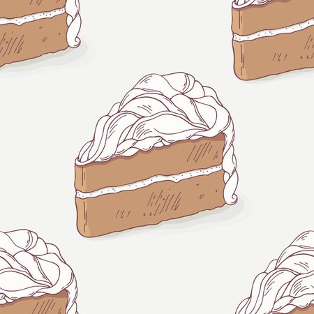 pasticceria: Chocolate cake doodle seamless pattern in vector. Hand drawn sweet food background. Dessert illustration for pastry shop or cafe