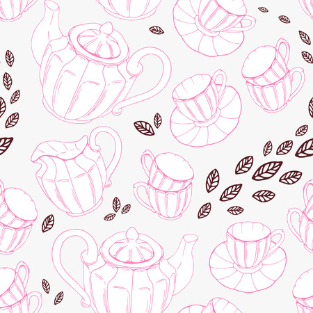 teatime: Seamless pattern with hand drawn tea porcelain service and leaves. Vector illustration. Teatime backdround Illustration