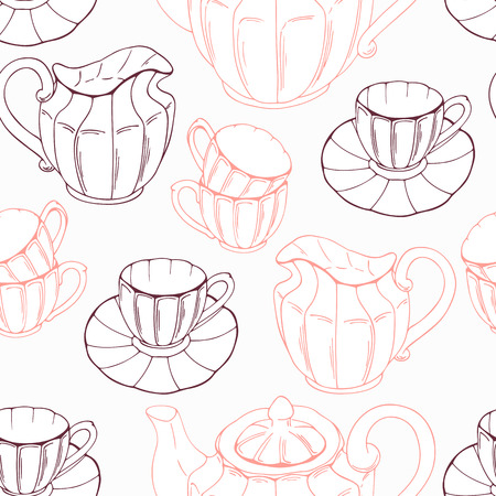 tea service: Seamless pattern with sketch style tea service and leaves. Vector illustration. Kitchen backdround Illustration