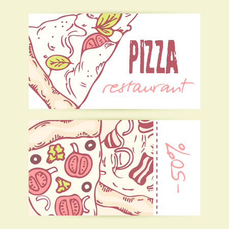 pizza place: Business cards templates with different hand drawn pizza slices. Vector illustration. Doodle background for pizzeria or cafe with place for text Illustration