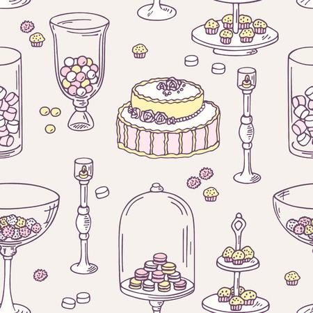 candy bar: Seamless pattern con oggetti candy bar disegnati a mano. Dolce sfondo negozio. Illustrazione vettoriale in stile shabby chic