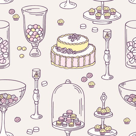 candy bar: Seamless pattern with hand drawn candy bar objects. Sweet shop background. Vector illustration in shabby chic style Illustration