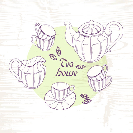 creamer: Hand drawn tea porcelain service set. Vector clip art. Sketch slyle illustration with teapot, creamer and cups Illustration
