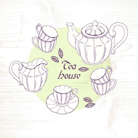 creamer: Hand drawn tea porcelain service set. Vector clip art. Sketch slyle illustration with teapot, creamer and cups Illustration