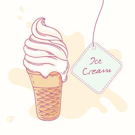 waffle cone: Hand drawn ice cream sundae in waffle cone isolated. Vector illustration
