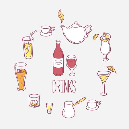 cocktails: Set of doodles drinks in vector. Backgrond with beverages for design. Hand drawn illustration