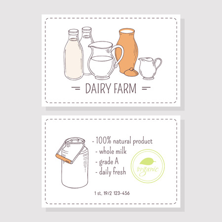 creamer: Hand drawn milk goods. Business cards template for dairy farm with place for text. Vector illustration