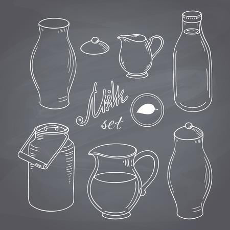 手のセットには、酪農のオブジェクトが描画されます。牛乳商品クリップ アート。スタイル ベクトル イラストレーションをチョークします。黒板