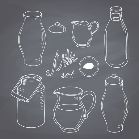 milk jugs: Set of hand drawn dairy farm objects. Milk goods clip art. Chalk style vector llustration. Chalkboard food background